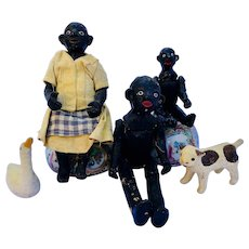 Dolls-Black Americana Family with Swan and Dog