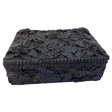 Folk Art Wooden Box with Beautiful Leather decorations