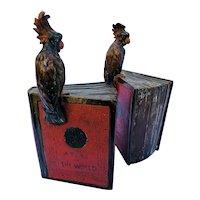 "Book Ends ""Pompeiian Bronze"" Cockatoos on Books"