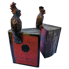 "Book Ends ""Pompeiian Bronze"" Cockatoos on Books"