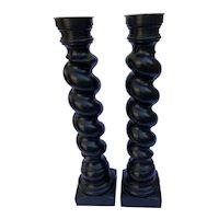 David Linley Ebony-color Wood Turned Barley Twist Candlesticks-a pair