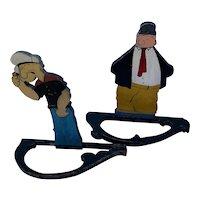 Wimpy and Popeye Folk Art Americana cutouts, the pair
