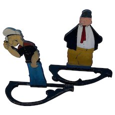 Wimpy and Popeye Folk Art Americana cutouts, the pair