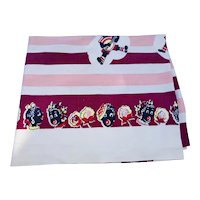 Black Americana Circa-1950's bright pink, cranberry and black tablecloth
