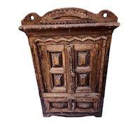 Tramp art minature cabinet jewel chest