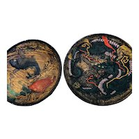 Japanese plates one dragon and another of two koi