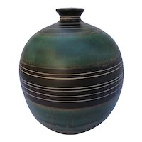 Midcentury white clay with shades of green vase