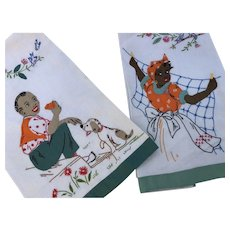 Black Americana embroidered and trapunto tea towels