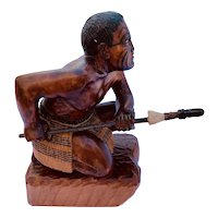 Maori Handcarved Crouching Warrior statue- Wood with painted details
