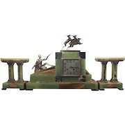 "Art Deco Bronze & Marble Clock Garniture ""The Hunt"" by Voltas"