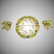 Juliana style green art glass and peridot rhinestone brooch and ear clips