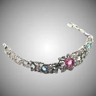 Trifari rhinestone floral bracelet Alfred Philippe Pat.1940