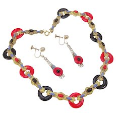 Neiger Czech  glass 1930's Art Deco black & red necklace and earring set.