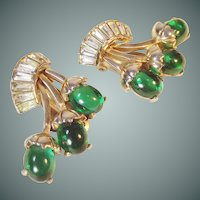 Schiaparelli  green  fruit shaped ear Clips