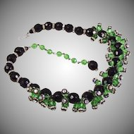 Vintage French green and black Briolette necklace