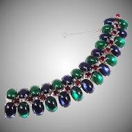 Vintage emerald, sapphire and ruby cabachon bracelet