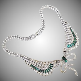 Marcel Marcel Boucher clear and emerald rhinestone swag necklace.