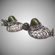 Italian designer Giuliano Fratti Green Bakelite domed Bracelet 1950's