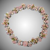 Louis Rousselet French pink poured glass floret necklace