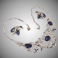 Trifari, Alfred Philippe, sapphire rhinestone and enamel necklace
