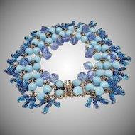 A vintage 1960's blue bead bracelet by Maison Woloch.