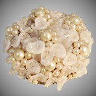 Vintage 1930's French glass pearl brooch by Louis Rousselet.