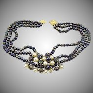 Vintage French Heliotrope and faux pearl bead necklace