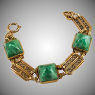 Art Deco sugar loaf Peking Glass Bracelet.