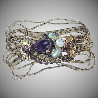 Victorian Revival multi chain givre cabachon bracelet c.1920.
