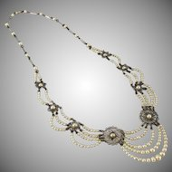 Louis Rousselet French glass seed pearl festoon necklace.