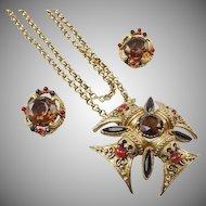 Florenza Maltese Cross Pendant Necklace and Earring Set.