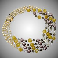 1960's Giuliano Fratti four row necklace. Possibly made for Christian Dior.