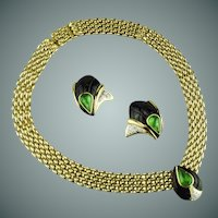 Vogue Bijoux Emerald Rhinestone & Enamel Collar & Earring Set