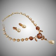 Christian Dior 1950's Peach Topaz Necklace & Earring Set