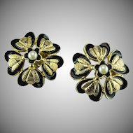 Vintage late 1950's Chanel floral Bee motif earrings.