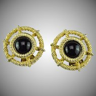 Vintage 1960's Christian Dior nautical wheel earrings.