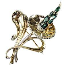 Marcel Boucher Sterling Vermeil, Phrygian Cap,  Emerald Rhinestone Hybiscus Brooch