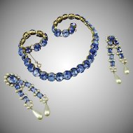 French, Louis Rousselet, 1940's demi parure of cornflower blue pastes and glass pearls.