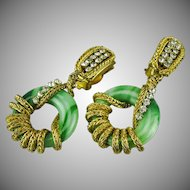 Vintage Francoise Montague Peking Glass and wrapped chain drop earrings.