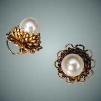 Countess Cissy Zoltowska (unsigned) chrysanthemum earrings.