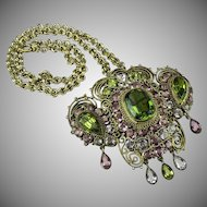 Hobe filigree and rhinestone set Pendant and Brooch.