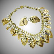 Hobe book chain and leaf bib necklace and earrings set