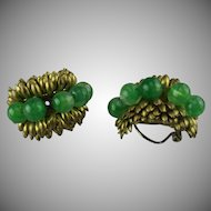Countess Cissy Zoltowska green poured glass earrings.
