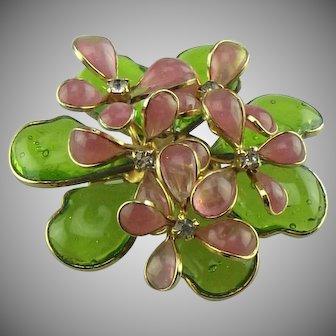 Hattie Carnegie Gripoix glass flower brooch.