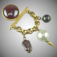Vintage French Bar & Festoon Brooch
