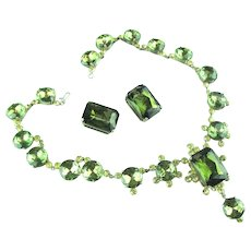 French Tourmaline Paste demi-parure of necklace and earrings.