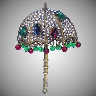 Kenneth J Lane brooch in the form of an Indian Mandala Umbrella.