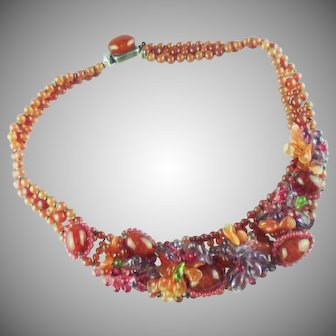 Louis Rousselet French Poured Carnelian and Uranium Glass Necklace