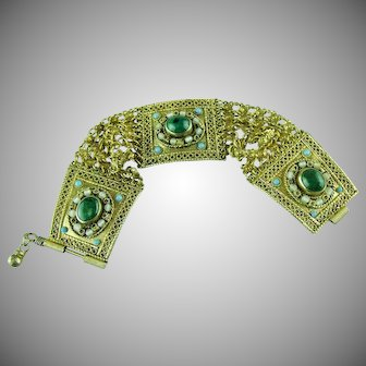 Vintage Persian style Brass Chain and Green Cabachon Bracelet