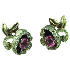 Coro Sterling Vermeil Pink Camelia Earrings